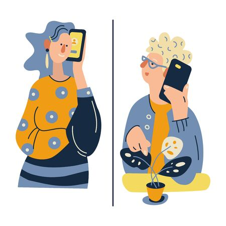 Remote communication concept. Call to aged parents or elderly grandparents. Family love, relationship, support, communication on distance. Color vector illustration in modern flat style. Illustration