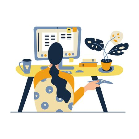 Working at home, coworking space, concept illustration. Young woman freelancer working on computer at home. Vector flat style illustration. 向量圖像