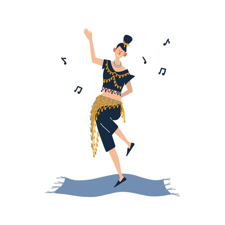 A woman enjoying their hobbies - dancing. A pretty girl is engaged in oriental dancing in a suit with coins. Flat cartoon vector illustration on white background.