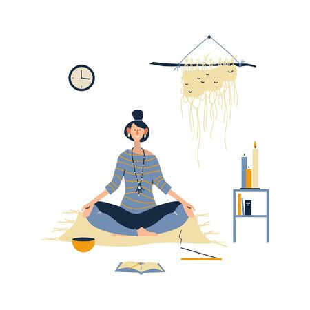 Young woman with crossed legs and closed eyes meditating at home. Practicing yoga and enjoying meditation. Flat cartoon vector illustration on white background.