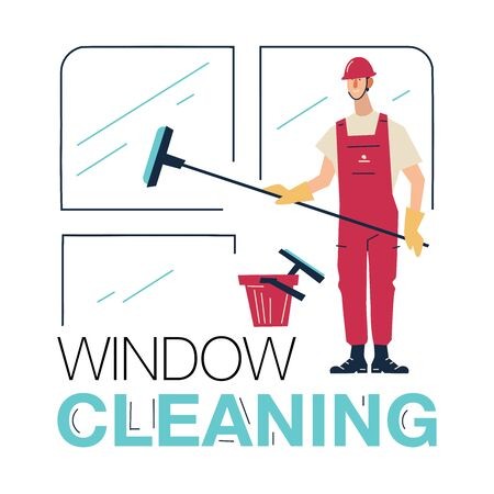 Skyscraper Cleaning Service Vector. Man With Bucket Of Water And Scraper. Professional Worker Cleaning Windows with cleaning equipment. Isolated On White Cartoon Character Illustration. Illustration