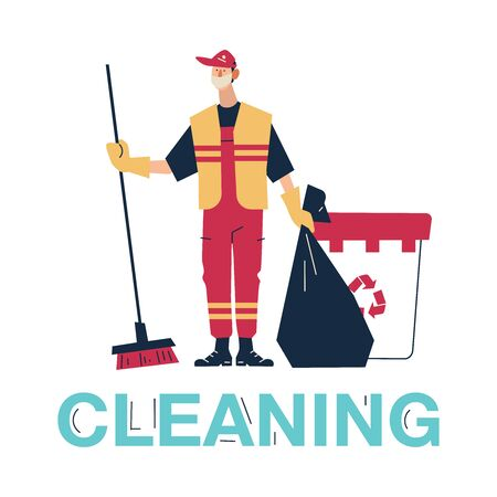 Man Collector Cleaning Trash from Rubbish Bin Container with Recycle Sign Landing Page. Garbage Removal. Man dressed in uniform on isolated background. Cartoon Flat Vector Illustration