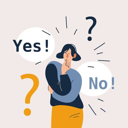 Woman showing doubts. Female character can not make decision. Yes and now right and left side. Flat cartoon vector illustration in modern concept. 向量圖像