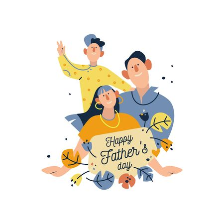 Happy father's day! Funny drawing of dad and kids. Flat vector illustration on white background.