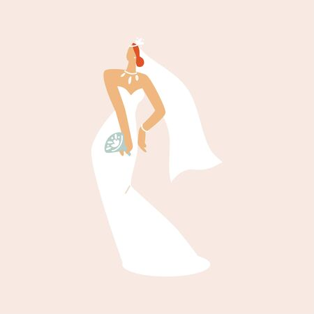 Bride in a wedding dress with a bouquet in her hands. Fashion look. Flat vector illustration.