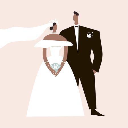 Bride and groom in wedding dress for wedding card invitation. Fashion look. Flat vector illustration.