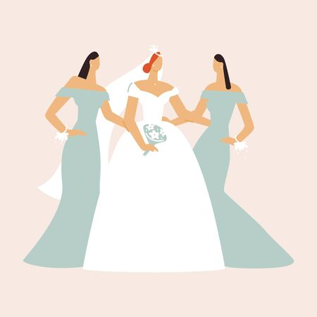 Bride in a wedding dress with a bouquet in her hands with bridesmaids. Fashion look. Flat vector illustration.