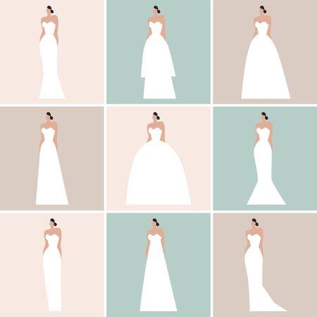 Brides in different styles of wedding dresses made in modern flat vector style. Flat vector illustration. Vektoros illusztráció