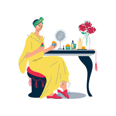 Home lifestyle. Young woman sitting at dressing table. Everyday personal care, skincare daily routine, hygienic procedure. Flat cartoon colorful vector illustration. Ilustração
