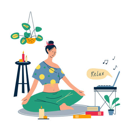 Home lifestyle. Young woman sitting cross legged on floor and meditating at home. Meditation, relaxation at home, spiritual practice, yoga and breathing exercise. Flat style vector illustration.