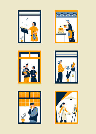 Human Life Concept. People in window frames. Outer Wall of House with Different People. Cartoon Flat Vector Illustration.