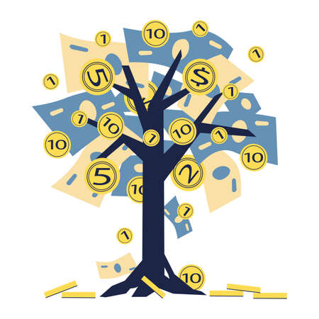 Vector illustration, a growing tree with coins and money, growing and making money, profit, the concept of financial management, a symbol of successful business. Stock Illustratie