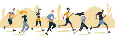 Group of running men and women in sportswear at marathon race. Marathon race, 5k run, sprint. Flat cartoon vector illustration on white background. Creative landing page design template, web banner. Vecteurs
