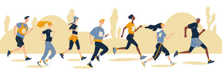 Group of running men and women in sportswear at marathon race. Marathon race, 5k run, sprint. Flat cartoon vector illustration on white background. Creative landing page design template, web banner.