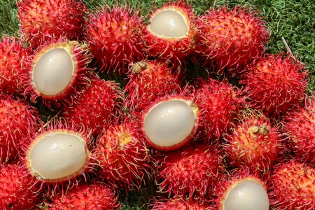 Full frame shoot of bunch of red rambutan fruits. Close up Rambutan peeled. Top view healthy fruits rambutans. The sweet fruit is a round to oval single-seeded berry covered with fleshy pliable spines