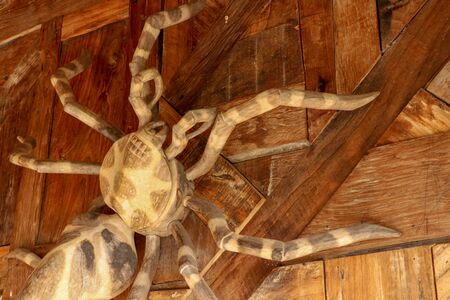 Large tarantula on the wall of rough planed planks. Statue Huge spider made of wood. Brown toy spider on the wooden floor. Selective focus.