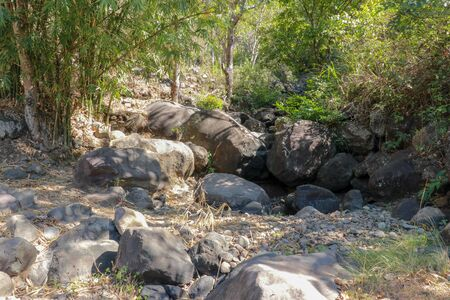 A rubber slippers and boulders isolated on a drying river at the background. Environment concepts.