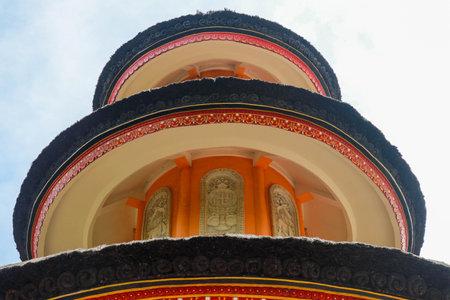 Detail of the roof of the Pagoda in the Brahma Vihara Arama Temple in Bal. Monastery, Brahma Vihara Arama , Bali, Indonesia