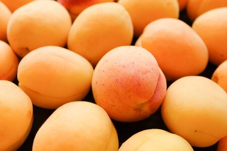 The crop of apricots on a dark wood background. Proper healthy diet. Vegetarianism, veganism, raw food diet. Selective focus Banco de Imagens