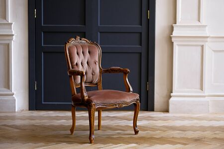 Beige velour chair against the black doors in the living room. The interior of the room in retro style. Stok Fotoğraf