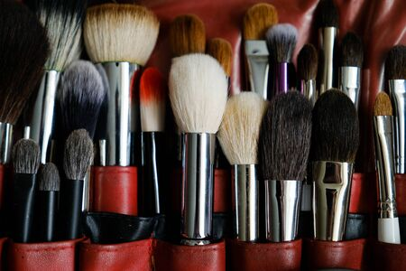 Makeup artist brush set for professional makeup in case in beauty salon. The concept of cosmetics, caring for each other.