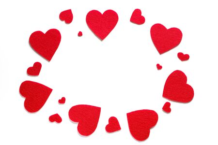 Background Of Red Hearts Or Valentines On A White Background. The concept of the celebration of Valentines Day. symbol of love. Copy Space.