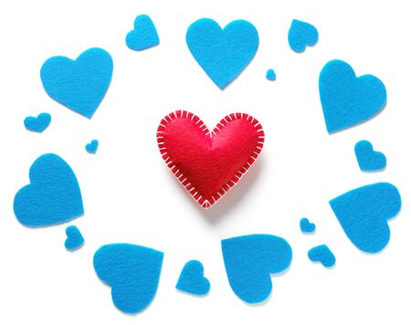 Background Of Blue Hearts And Handmade Valentines, On A White Background. The concept of the Valentines Day holiday, a Symbol of Love. Place To Copy.