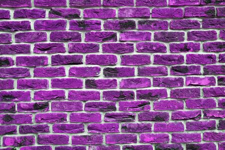 Purple Brick Wall. The Facade Of The Building Is Finished With New Plaster. Abstract Banner. brickwork. Background. Texture.