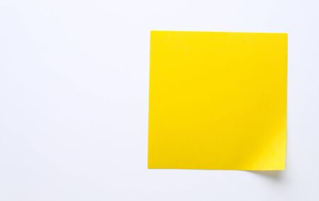 Yellow Sticky Sticker On White Background For Information Reminder. Space For Text. Stok Fotoğraf