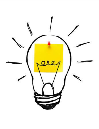 Creative drawing of a light Bulb On a Yellow Sticker, On a White Background. The concept of New Ideas, Innovations, solutions to problems.
