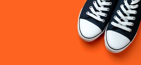 New Clean Blue Sports Sneakers With White Laces, On A Fashionable Background Of Lush Lava. Banner.