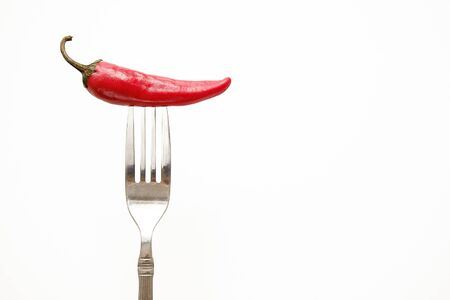 Red hot chili pepper on a fork. Copy space for text.