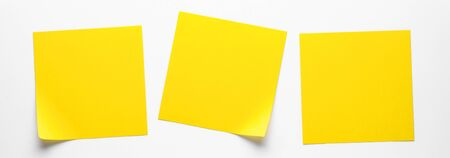 Yellow Sticky Stickers On A White Background To Remind You Of Information. Space For Text. Banner Stok Fotoğraf
