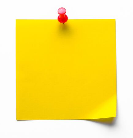 Yellow Sticky Sticker On A White Background For Reminding Information, Attached With A Paper Clip. Space For Text.