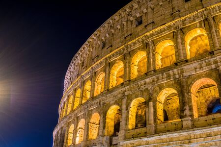 The lighting of the pole helped a lot in the composition of this photograph. The Roman Colosseum was photographed on its side.
