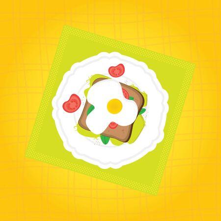 Delicious tasty breakfast cartoon illustration. Toast, egg, tomatoes and microgreens salad. Иллюстрация