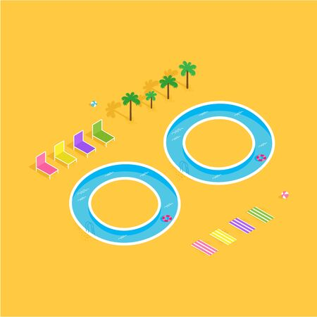 Summer illustration. Sunny beach with pool and sun loungers. Golden sand. Çizim