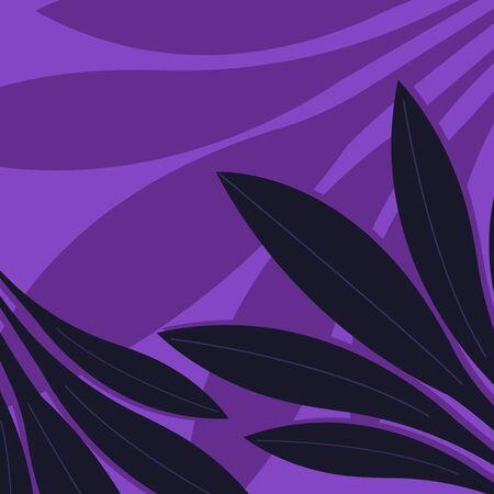 Tropical leaves. Stylish purple background.