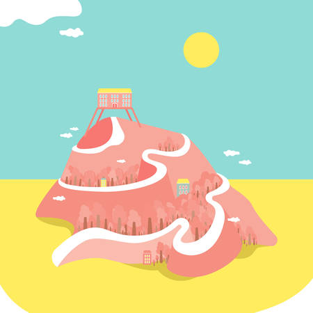 Summer illustration. High mountain. Bright and funny picture. Great for printing.