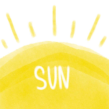 Hand painted sun. Summer drawing 版權商用圖片