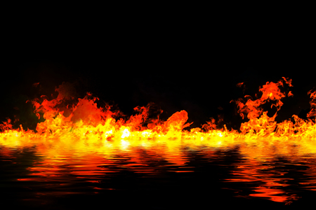 fireplace lighter: awesome fire flames with water reflection, on a black background.