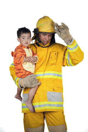 firefighter, fireman save children from fire
