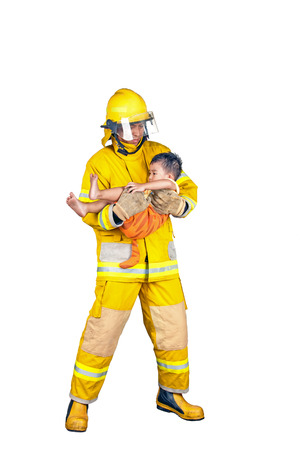 firefighter, fireman rescued the child from the fire, isolated on white