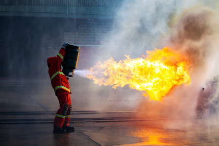 fireman: Firefighters training, The Employees Annual training Fire fighting