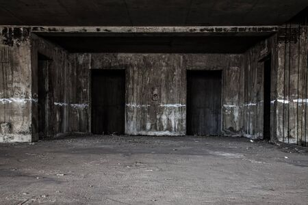 ghost face: scary lift hall in abandoned building