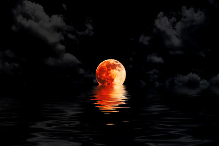 reflection in water: dark red full moon in cloud with water reflection closeup showing the details of the lunar