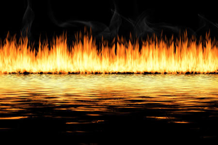 awesome fire flames with water reflection, on a black background.