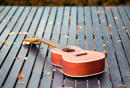 Ukulele guitar on wood table in the garden under the morning sunlight. Stock Photo