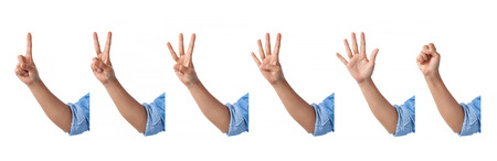 set of counting front hands sign with an elbow in a jean shirt., isolated on white background