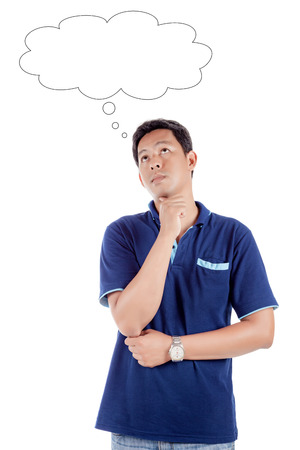 Portrait of the thoughtful handsome asian man looks up with hand near face with thought bubble., isolated on white background.